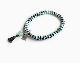 Bliss Teal Aventurine Roll on Bracelet