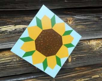 "Small Hand Painted Sunflower Barn Quilt Block 11"" x 11"" x 3/4"""