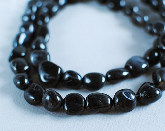 Black Agate Nuggets, 15mm, 30 inch strand