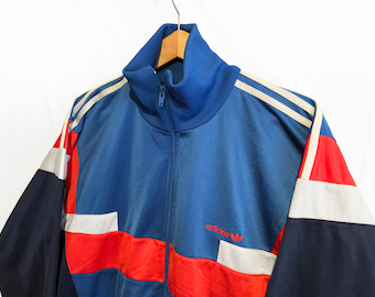 Vintage 80s Adidas Trefoil Windbreaker Tracksuit top jacket Blue/Red/White Size L