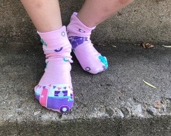 Happy Camper Socks- Crew, Knee High, Over the Knee
