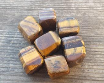 TIGER EYE TUMBLED Stone One (1) Medium/Large Natural Tumble Stone