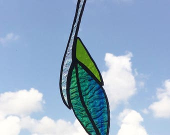 Blue and Green Stained Glass Feather