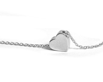 Delicate Heart Necklace / Tiny Silver Heart Necklace / Romantic Gift / Valentines Day / Gift for Her / Layered Necklace / N113a