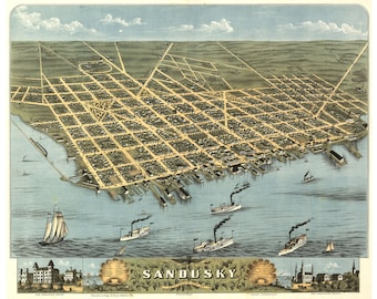 Map of Sandusky, Ohio by Ruger; 1870; Antique Birdseye Map