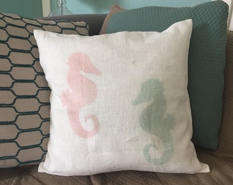 Seahorse Pillow - Aqua and Coral on Linen