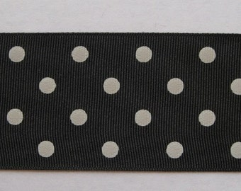 """Black with white polkadots grosgrain ribbon - 10 yards of 2 1/4"""" wide IN 3 PIECES"""