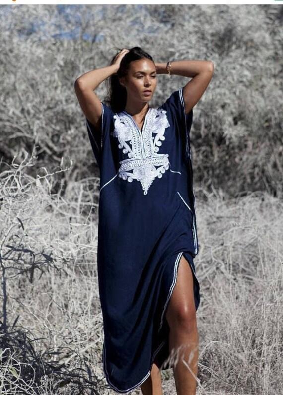 Kaftan dress, Caftan, 25% OFF //Navy Blue &Silver Boho Marrakech, Beach dress, caftan, Kaftan ,beach cover ups, resortwear, ramadan, eid