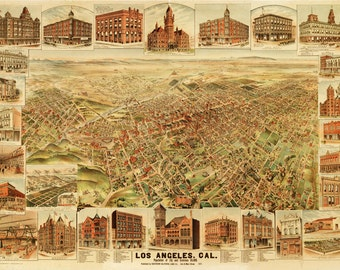 Vintage Map township - Los Angeles, California 1891
