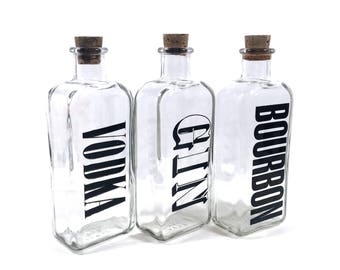 Bourbon, Vodka & Gin Decanter Set with 3 Vintage Liquor Bottles by Wheaton, Gifts for Men