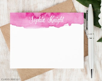 Personalized Stationery / Personalized Note Card Set / Watercolor Calligraphy Personalized Stationary / Flat Cards // WATERCOLOR SCRIPT