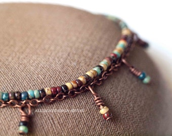 Bohemian Anklet | Boho Anklet | Coloured Picasso Anklet with Dangles | MADE TO ORDER