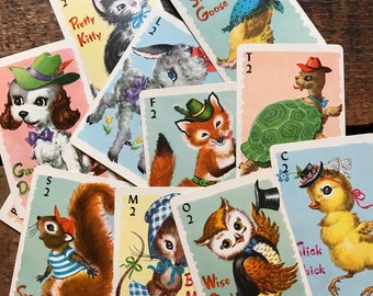 Mini Animal Rummy Cards - Set of 11 - Cute Baby Animals, Vintage Animal Cards, Children's Playing Cards, Whitman Cards, Animal Playing Cards