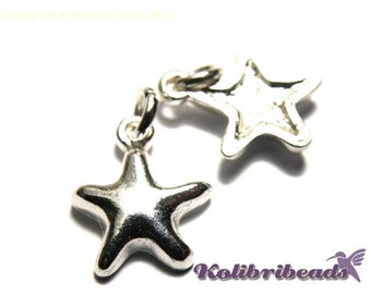 2 pc. Starfish Charm 15 mm - Silver plated
