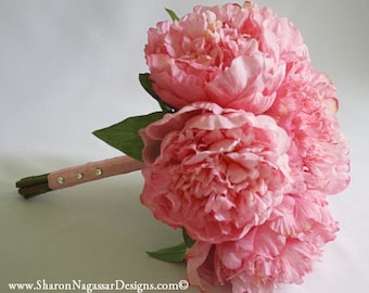 Pink, Real Touch, peony / peonies, bouquet, silk, wedding, flowers, Bride and Groom set