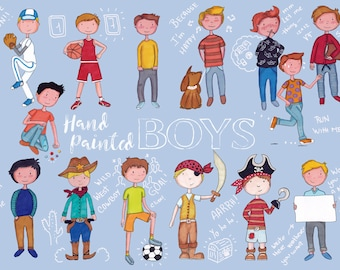 Boys hand painted/ clipart children / clipart birthday / greeting cards / birthday boy clipart / clipart commercial use