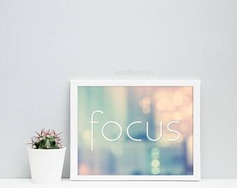 Focus print - Womens office decor - Printable women gift - Pastel bokeh print - City lights print - Girl office wall art - Focus prints