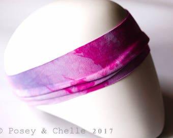 Yoga Headband, Bamboo & Organic Cotton Stretchy Headband, Pink Purple Tie-Dye