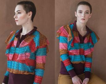 Crochet Lace Retro Color Block Stripe Ruffle Polo Top XS S M L XL XXL