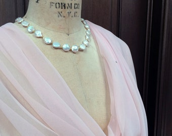 Pale Pink Blush XL Chiffon Shawl Wrap Scarf