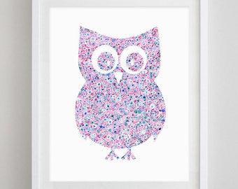 Owl Floral Watercolor Art Print - Chi Omega