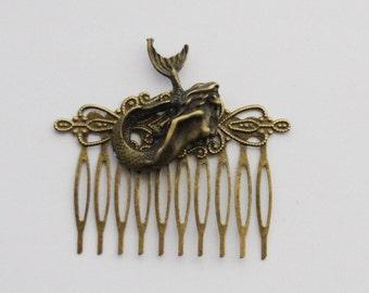 Mermaid Gift, Mermaid Hair Clip, Mermaid Hair Comb, Antiqued brass Mermaid Hair Clip, Mermaid Accessories, Beach Wedding hair, Nautical Hair