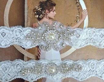 ON SALE Wedding Garter Set, Bridal Garter Set, Ivory Lace Garter, Blue Garter, Something Blue, Joanna Style 10136