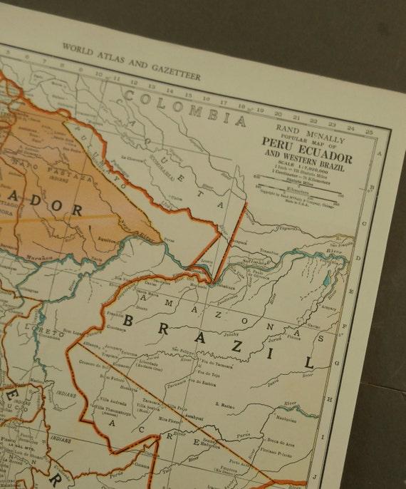 1940 peru ecuador map colombia south america vintage 1940 peru ecuador map colombia south america vintage 11 x 14 atlas map old maps as wall art decor gumiabroncs Gallery