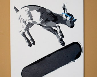 Skater Kid Goat Stencil Art - Spray Paint from Handmade Stencils. Black and Gray on White 16X20 canvas