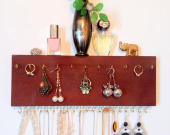 Jewelry organizer, jewelry display, accessory organizer, earrings display,wood shelf, gift for her