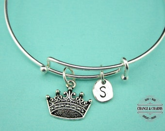 Crown Bangle, Princess Bangle, Silver Plated Bangle, Bangle, Charm Bracelet, Crown Charm, Personalized, Initial Charm, Custom Gift, Gift