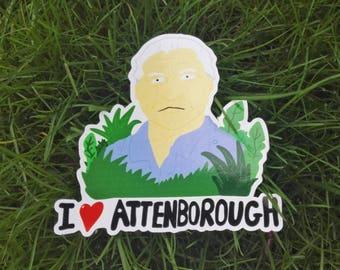 I Love Attenborough Vinyl Sticker - David Attenborough - for nature lovers.