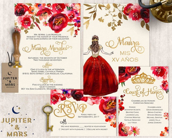 Red and Gold Quinceaera Invitation Quinceanera Invitation