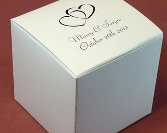 Personalized White Candy Treat Favor Box 3x3x3