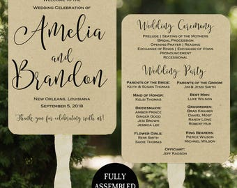 Wedding Program Fans Printable or Printed/Assembled with FREE Shipping - Kraft Paper Modern Collection