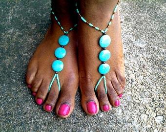 Barefoot sandals, Turquoise Barefoot Sandals, Yoga Sandals, Boho chic, Boho Jewelry, Barefoot Beach Sandals, Barefoot wedding Sandals,