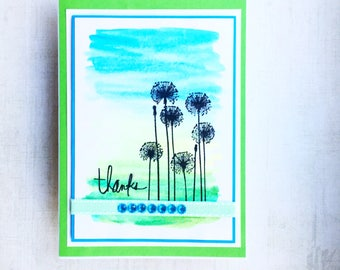 Watercolour dandelion clocks - hand painted and stamped Thank You card - artistic design card - designer card - handmade card