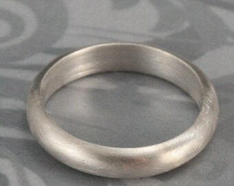 Chunky Silver Band--4mm Plain Jane Thick--Sterling Silver Band--Wide Half Round Ring--Women's Wedding Ring--Men's Wedding Ring--Custom Made