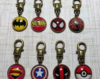 Superhero/Comics Zipper Pulls for use with backpack, hoodie, jacket, coat, purse, gym bag