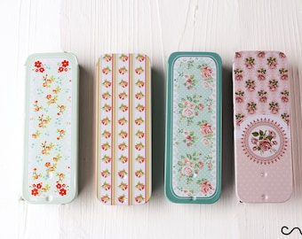 Rectangular  Small Floral Metal Tin Sliding-Lid Trinket Gift Box Mint Sweets Plasters Travelling