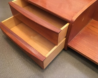 Mid Century Modern Scandinavian Floating Teak Wall Mounted Shelf With Drawers
