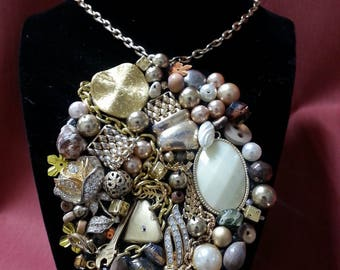 One of a Kind Gold Glam Junk Art Necklace