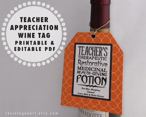 Printable Teacher Tags Teacher Wine Gift Tags  Teacher