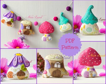 Fairy houses garland. (PDF Pattern)