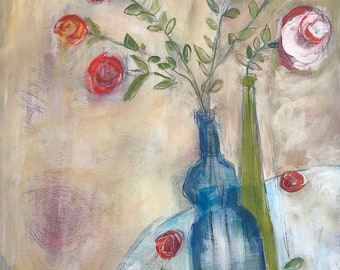 Acrylic painting still life floral on paper original unframed funky flowers in vase