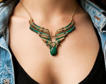 "The ""Indian Spell"" Chrysocolla macrame statement necklace 