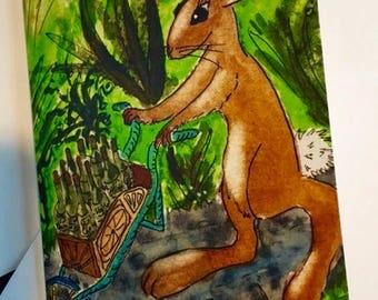 Notecard: Rabbit with Wheelbarrow of Wine