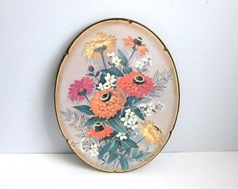 Vintage 1960s Robert Laessig Floral Litho Decoupage Oval Wood Wall Plaque - Orange Yellow Pink Zinnia Flowers