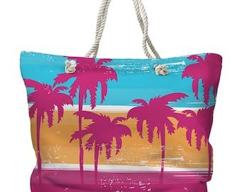 Palm Trees Tote Bag, Beach Tote Bag, Coastal Tote Bag, Tropical Tote Bag, Palm Carryall