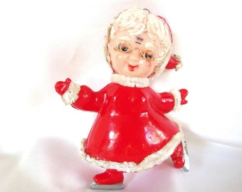Vintage Plastic Christmas Ornament, Skating Mrs. Claus Christmas Ornament